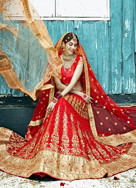 Embroidered Net Red A Line Lehenga Choli