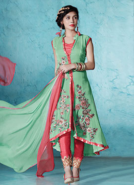 Embroidered Pista Green Straight Pant Suit