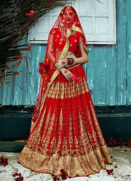 Embroidered Red Net A Line Lehenga Choli