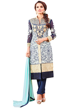 Embroidered Straight Pant Suit