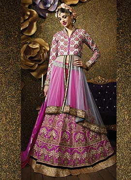 Embroidred Pink Long Choli Lehenga