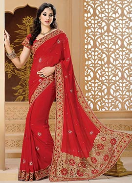 Enchanting Red Georgette Saree