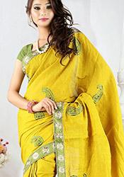 Enchanting Yellow Cotton Saree