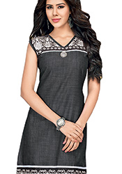 Enthralling Black Cotton Kurti