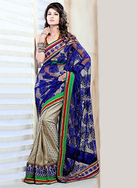 Enticing Net Half And Half Saree
