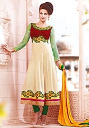 Enticing Off White Georgette Anarkali Suit