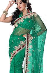 Exhilarating Look Crystals Enhanced Chiffon Saree