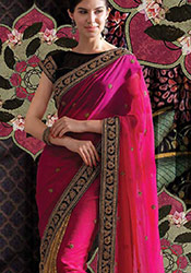 Exquisite Pink georgette Saree