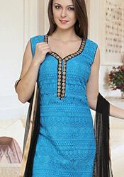 Fab Blue Silk Embroidered Churidar Suit