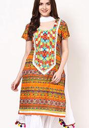 Fab Printed Cotton Semi Patiala Suit