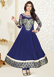 Fabulous Blue Viscose Ankle Length Anarkali Suit