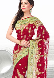 Fabulous Red Georgette Saree