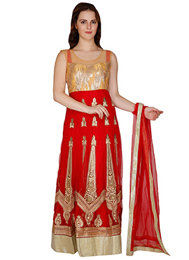 Famous By Payal Kapoor Beige N Deep Red Anarkali Suit