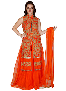 Famous By Payal Kapoor Deep Orange Net Palazzo Suit