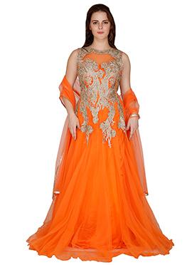 Famous By Payal Kapoor Orange Floor Length Anarkali