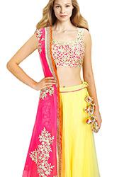 Fashionable Yellow Net A Line Lehenga Choli