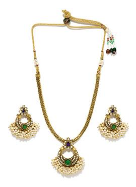 Fida Golden N Off White Necklace Set