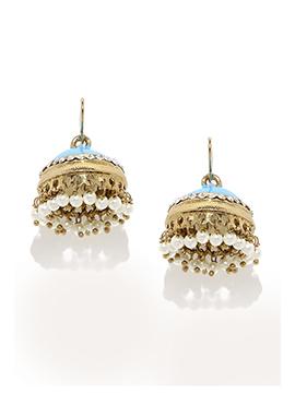 Fida Golden N Sky Blue Hooks Earring