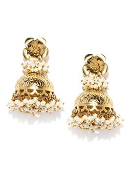 Fida Golden N White Jhumka Earring
