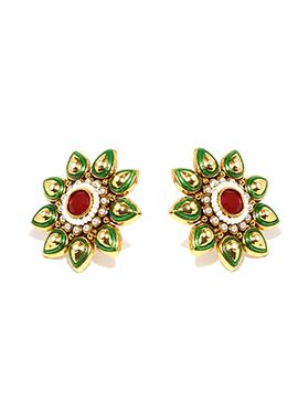 Fida Green N Red Studs Earring