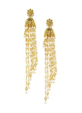 Fida Jhumka White N Golden Earring