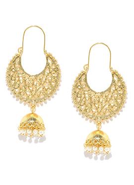 Fida White N Golden Chand Bali Earring