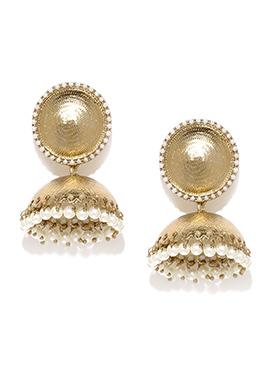 Fida White N Golden Jhumka Earring
