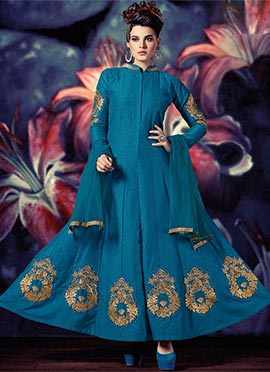 Firozi Blue Art Silk Anarkali Suit