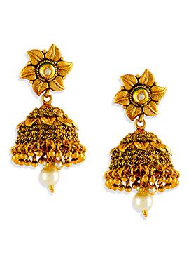 Floral Stud Jhumka Earrings