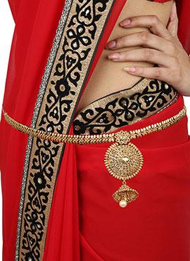 Foliage Pattern Gold colored Saree Belt