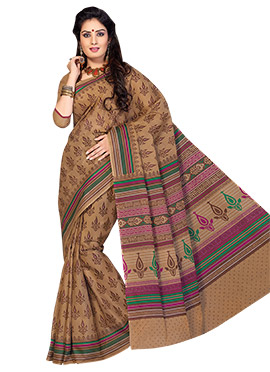 Foliage Patterned Cotton Printed Saree