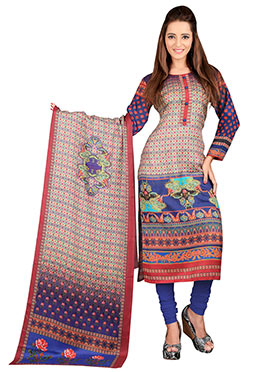 Foliage Patterned Pashmina Straight Suit