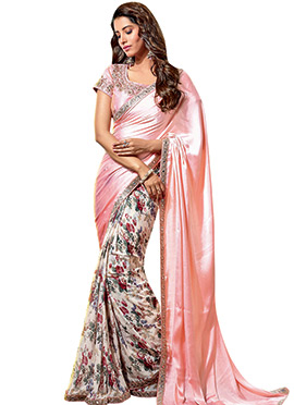 Foliage Print N Mirror Work Border Saree