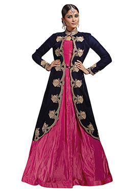 Fuchsia Pink Art Silk Jacket Style Gown