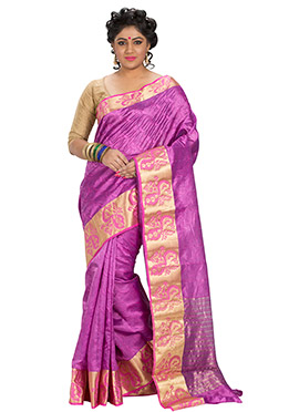 Fuchsia Pink Art Silk Jacquard Designed Saree