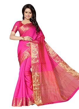 Fuchsia Pink Benarasi Silk Saree