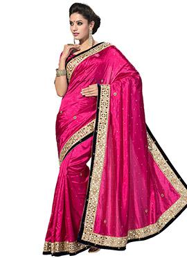 Fuchsia Pink Embellished Satin Saree