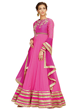 Fuchsia Pink Embroidered Ankle Length Anarkali Sui
