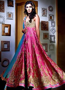 Fuchsia pink Kisneel By Pam Anarkali Suit