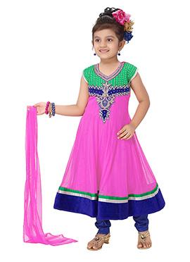 Fuchsia Pink Net Anarkali Suit