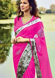 Fuschia Pink Chiffon Saree