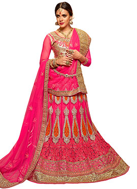 Fuschia Pink Embroidered A Line Lehenga Choli