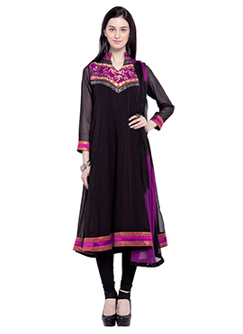 Georgette Black Embroidered Anarkali Suit