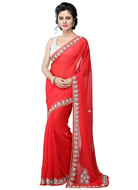 Georgette Coral Red Saree
