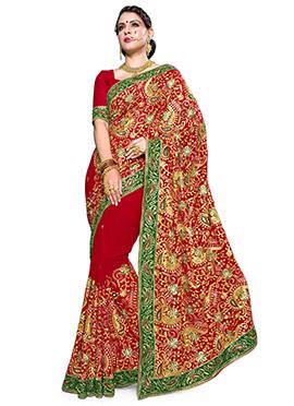 Georgette Dark Red Embroidered Saree