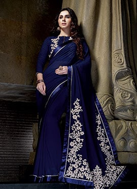 Georgette Embroidered Blue Saree