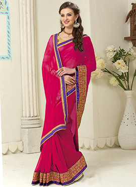 Georgette Embroidered Border Saree