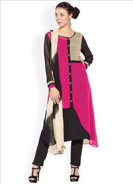 Georgette Layered Straight Pant Suit