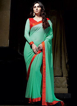 Georgette Mint Green Saree