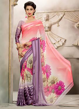 Georgette Multicolored Floral Saree